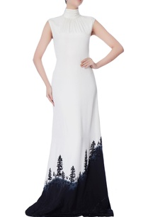 black-white-high-neck-gown