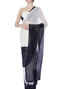 black-white-sari-with-blouse-under-skirt