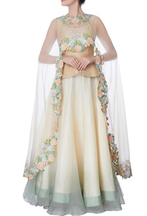 ivory-organza-silk-cape-with-lehenga-blouse