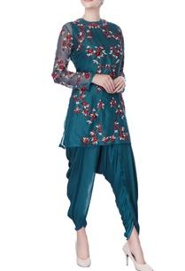 teal-blue-resham-zardozi-embroidered-kurta-set