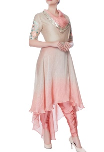 coral-pink-beige-suit-with-dhoti-pants