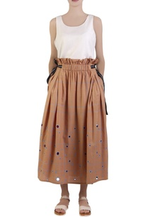 apricot-orange-flared-maxi-skirt