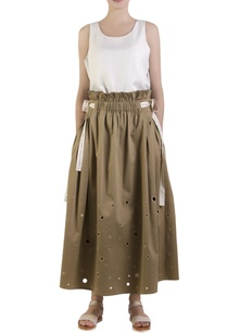 olive-green-flared-elasticized-skirt