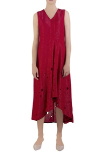 red-lurex-shimmer-sleeveless-dress