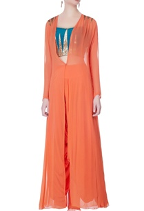 blue-bustier-with-dhoti-pants-cape