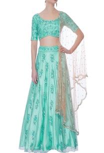 green-pearl-embellished-lehenga-set