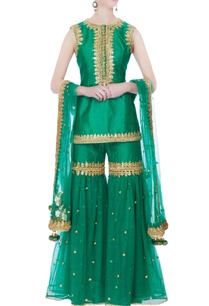 green-kurta-with-garara-pants-dupatta