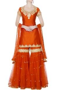 orange-kurta-with-garara-pants-dupatta
