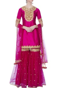 pink-kurta-with-garara-pants-dupatta