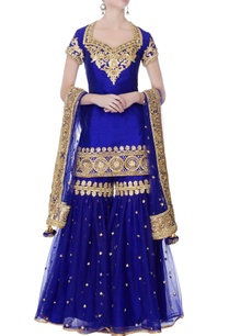 blue-kurta-with-garara-pants-dupatta