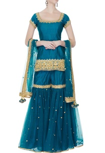 teal-blue-short-kurta-set
