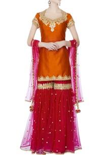 orange-kurta-with-garara-pants-dupatta-intricate-gold-gota-work
