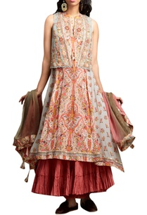 white-orange-printed-kurta-set