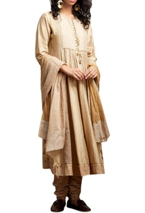 beige-chanderi-silk-anarkali-set