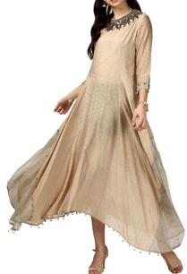 beige-asymmetric-silk-kurta