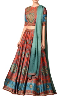 red-turquoise-blue-printed-lehenga-set