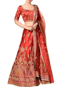 maroon-satin-embroidered-lehenga-set