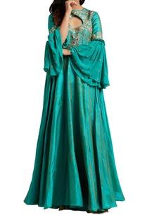 turquoise-raw-silk-flared-anarkali