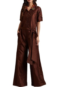 brown-raw-silk-embroidered-jumpsuit