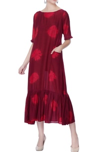 maroon-hand-dyed-floral-dress