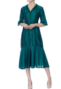 peacock-blue-button-down-dress
