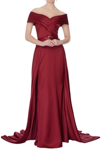 maroon-off-shoulder-gown-with-detachable-skirt