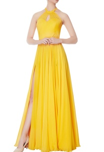 yellow-halter-chiffon-silk-gown