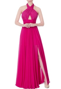 hot-pink-halter-gown
