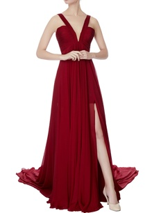maroon-chiffon-v-neck-gown