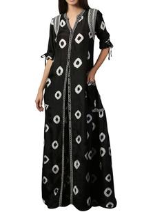 black-white-bandhini-print-dress