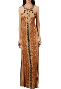 beige-tribal-printed-maxi-dress