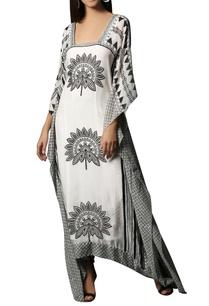 white-black-printed-chiffon-kaftan