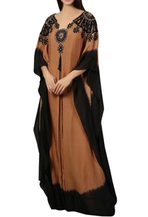 brown-black-printed-kaftan