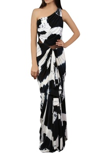 black-white-one-shoulder-sari-gown