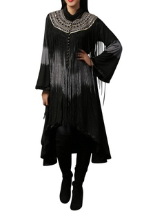 black-grey-asymmetric-fringe-cape-tunic