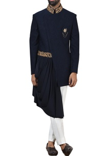 blue-embossed-banhgala-with-white-trousers