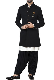 black-sherwani-with-kurta-patiala-pants