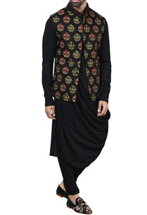 black-embroidered-nehru-jacket-set