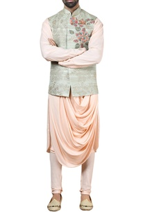 green-tussar-silk-nehru-jacket-set
