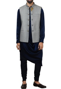 grey-quilted-silk-nehru-jacket-set