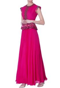 pink-chiffon-peplum-gown