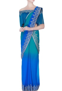 blue-shaded-pre-draped-embroidered-sari-with-blouse