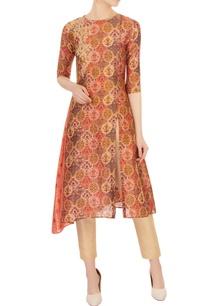orange-tinted-wrap-kurta-in-sanganeri-print