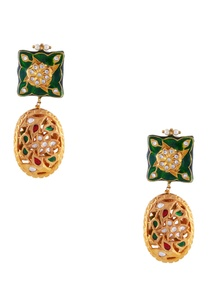 green-jadtar-gold-plated-earrings