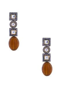 brown-semi-precious-stones-gold-plated-earrings