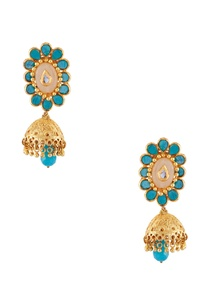 turquoise-semi-precious-stones-gold-plated-earrings