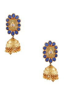 blue-semi-precious-stones-gold-plated-earrings