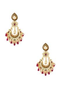 red-semi-precious-stones-gold-pated-chaandbalis