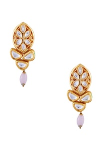 pink-semi-precious-stones-gold-plated-stud-earrings