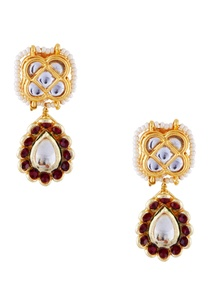 red-semi-precious-stones-gold-pated-stud-earrings